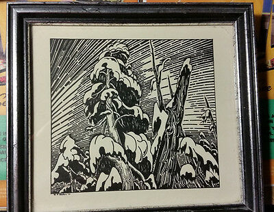 W P Weston Pen And Ink Drawing Snow Covered Trees