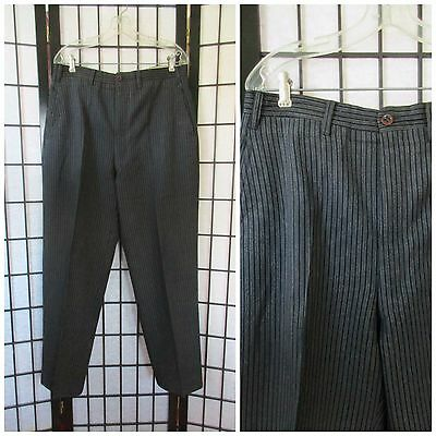 Vintage 1940s Black Striped Pants French Stripe 34 34.5 Trousers Gray Grey