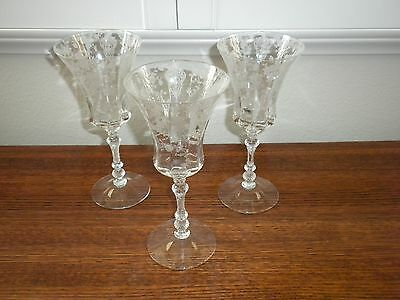 Cambridge Depression Glass ROSE POINT Set 3 WATER GOBLETS 8 3/8""
