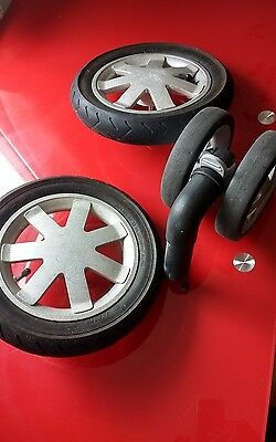 quinny buzz set of wheels- front and 2 rear, silver