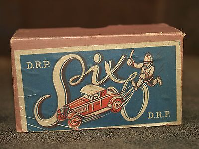 Vintage German Tin plate clockwork coupe car Auto Six DRP 6 Functions Boxed
