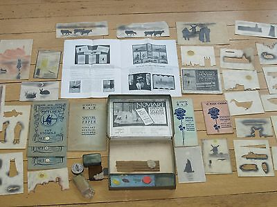 Vintage stencil set Novlart boxed with used french chalk and finished examples