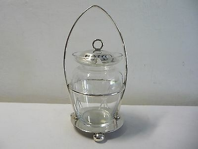 Vintage Engraved Glass Pickle Preserve Jar Silver plate EPNS Stand MW&S England