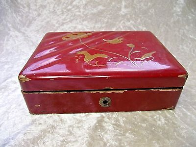 Vintage Japanese Red Lacquered Box - Oriental