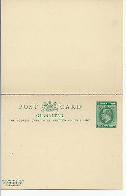 Stationery: Gibraltar KEVII ½d + ½d Reply Card Mint