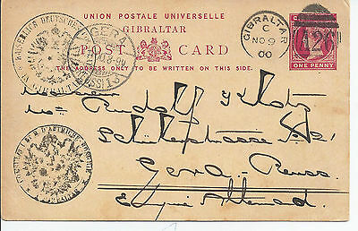 Stationery: Gibraltar QV 1d Card German Consulate Used