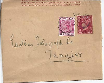 Stationery: Gibraltar QV 10c Wrapper uprated to Tangier