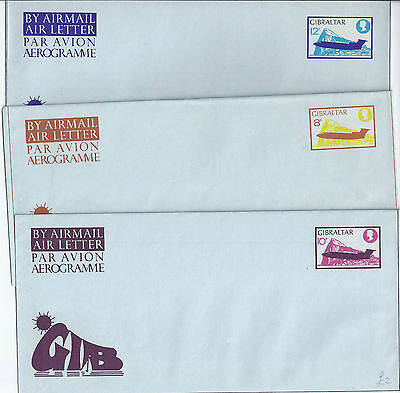 Stationery: Gibraltar Set of 3 Mint Aerogrammes