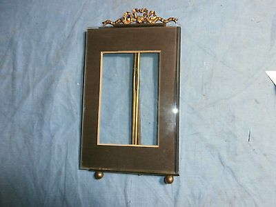 Antique Glass & Brass Ornate Top  Stand Up Picture Photo Frame