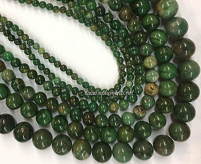 Beautiful Green African Jade Round Beads various size 15in long strand