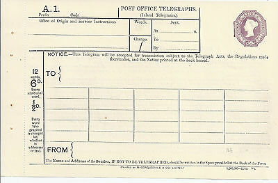 Stationery: GB QV 6d Violet Telegraph Form Mint