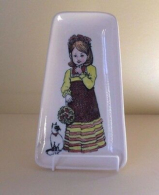 Vintage Honiton Pottery Dish Decorated with a Girl & Cat