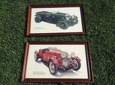 2 Old Pictures/ Prints, 1928 4.5 Litre Bentley, 1934 M45R  4.5 Litre Lagonda