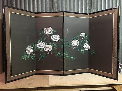 Vintage Japanese Chinese 4 Panel Folding Screen Byobu Painted 66x36 BLACK SILK