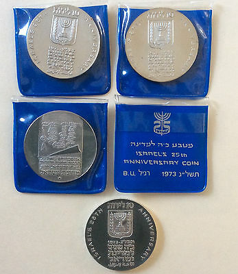 (4) ISRAEL 1973 UNC 25th Anniv. Silver Coins, Orig Cases &Owner