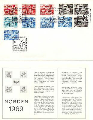 Denmark -Norway- Sweden -Iceland  1969 Norden Cover With Cancel Stamps + Insert