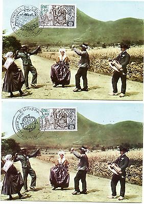 France/strasbourg 1981 2 Ppc Beautiful Cancelled Europa Stamp Folkdance -Bouree