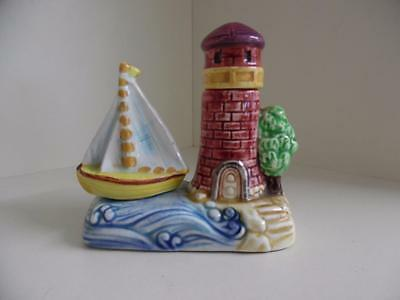 Vintage Retro Quirky Lighthouse and Yacht Salt and Pepper Cruet Set