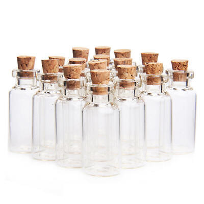5 x Mini Clear Vial Glass Bottles & Cork Stop 5ml - Home Weddings Craft Perfume