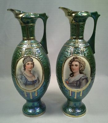 Pair Of Antique Royal Vienna Porcelain Ewers