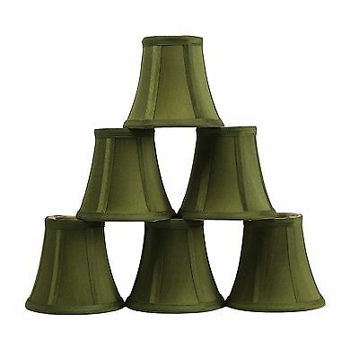Furnishland Set of 6 Olive Green Faux Silk Bell Chandelier Lampshade,  Clip on
