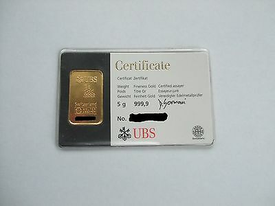 UBS Kinebar 5 gram Sealed Gold bar 999,9 Argor Heraeus Switzerland Swiss 24 ct