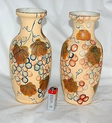 Decorative Flower Vase Pair Colourful Rare Collectors Display Items 21Cm Tall @@