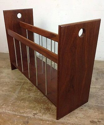 Vintage Modernist Grated Teak Magazine Newspaper Rack Retro Old Wood Metal