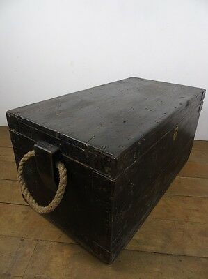 Antique Pine Blanket Chest Wood Sailors Trunk Metal Handle Victorian Old Box