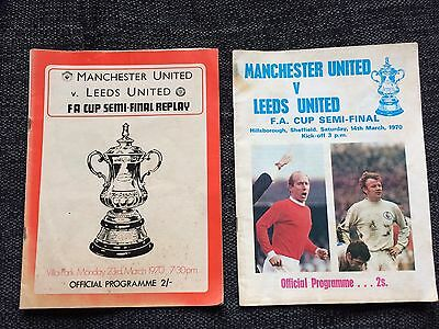 Manchester United V Leeds FA Cup Semi Final & Replay 1970 Programmes
