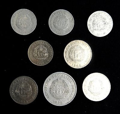 Romania - Group of 8 Coins from the 1960's & 70's - Various Condition