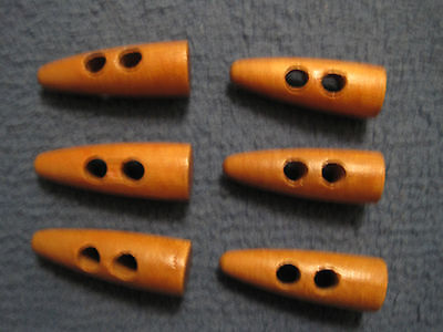 6 x wooden toggles, approx 40mm long and 14mm at the largest point- VGC