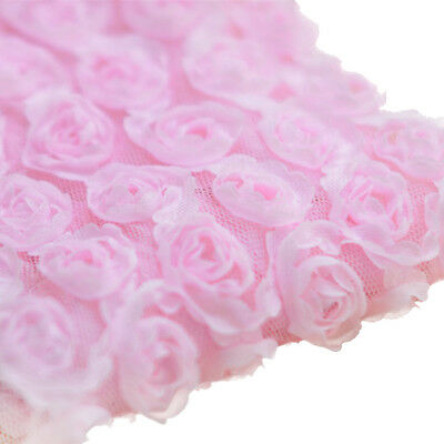 3 Yards 6-Rows 3D Chiffon Rose Flower Lace Trim Embroidered Applique Pink