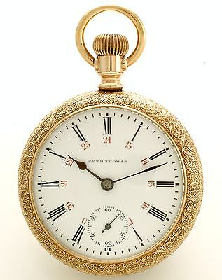 Seth Thomas Maiden Lane Railroad Pocket Watch 18 Size 25 Jewel 24 Hr Dial Ca1891