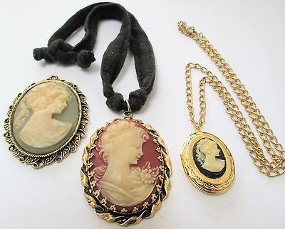 Two large vintage gold metal & cameo pendants + locket & chain