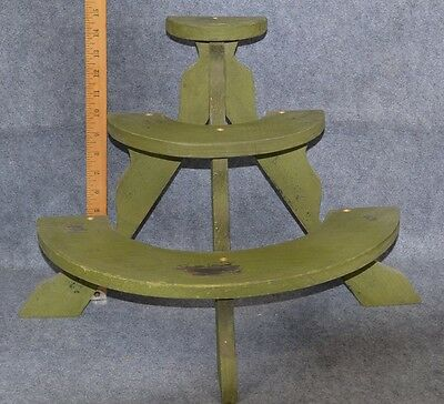 display shelves plant  1/2 round table top green grungy paint antique original