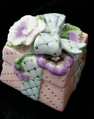 Fitz & Floyd Essentials Porcelain Trinket Box Floral  Pink Purple Blue Present