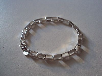 Seulement 1 euro ! Beau bracelet argent sterling 925, maille rectangulaire,neuf