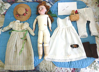 "Antique 14 15"" S & H 1040 -4 Dep Simon Halbig.  Cabinet size Doll Lot Hat ++ TLC"