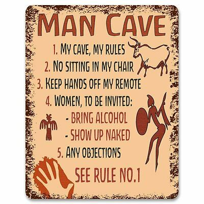 Man Cave Rules - Metal Sign / Plaque