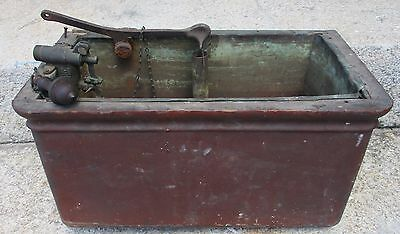 ANTIQUE WOOD COPPER LINED PULL CHAIN TOILET TANK w/ VALVE FLOAT + FITTINGS