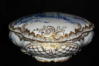 Large French Porcelain Jewelry Trinket Box Litehouse Scene ~ Gold Gilted
