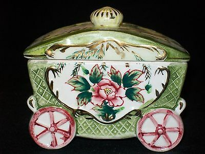 Handpainted Porcelain Victorian Jewelry Trinket Box of a Carriage Dresden Style