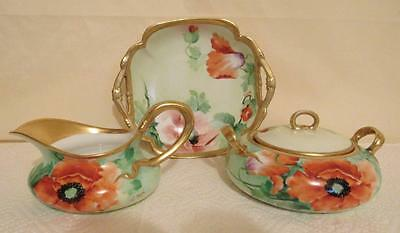 Ginori Italy Hand Painted Poppies Sugar With Lid, Creamer & Bowl Artist Signed
