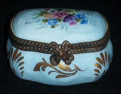 Antique French Porcelain Sevres Floral Hinged Trinket Box Dresden Porcelain