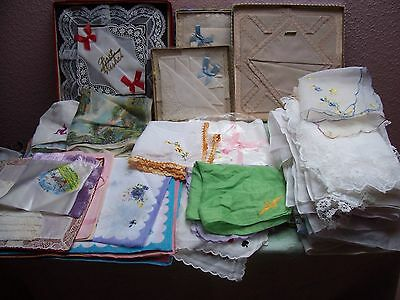 Job Lot Approx 100 Mostly  Vintage  Ladies Hankies Some Boxed