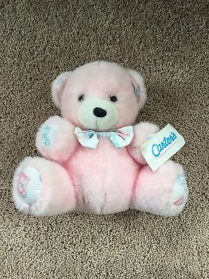 Vtg Carters Pink Bear Rattle Lovey Plush Blue Pink Green Stuffed Baby Toy RARE
