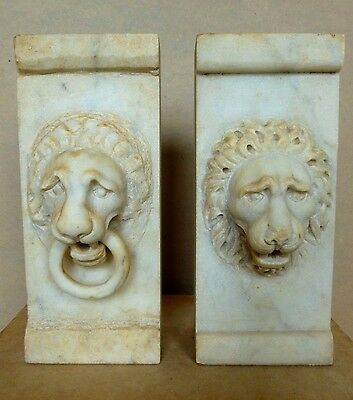 Neoclassical Pair Marble Lion Masks Apprentice Pieces Hand Carved Italy c.1880's