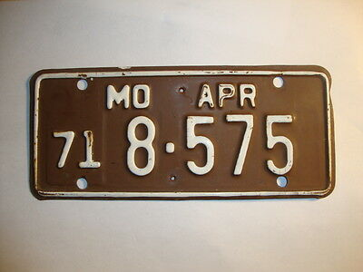 1971 Missouri Motorcycle License Plate # 8-575, MO