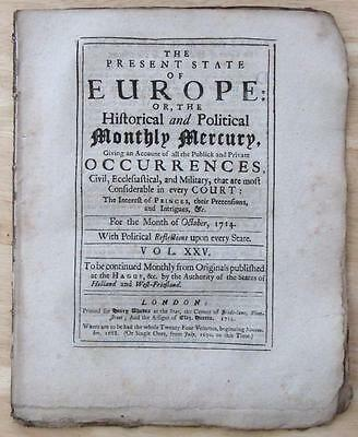1714 Newspaper Monthly Mercury Account Of The Coronation Of King George  I
